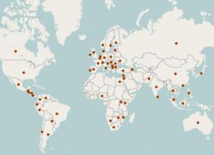 Carte de la localisation des journalistes ICIJ